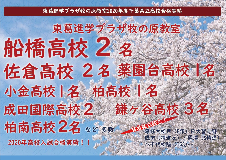 2020年度千葉県立高校合格実績
